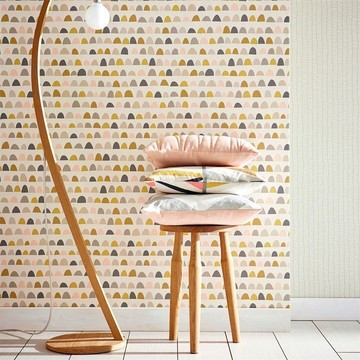 Scion-Lohko-Wallpaper-Priya-Patterned-wallpaper-pink-gold-brown-blue-grey-retro-palette-tetra-cushion