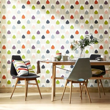 Scion-Lohko-wallpaper-Sula-rain-drop-pink-green-blue-red-retro-palette-tetra-cushion-funky-dinning-room