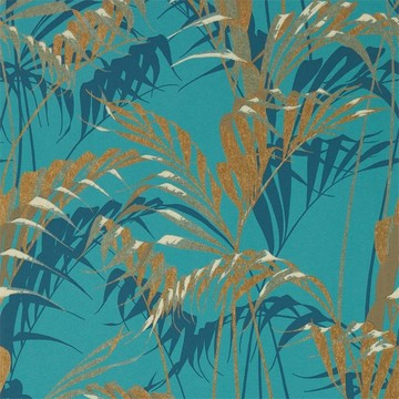 Palm House Teal/Gold 216640