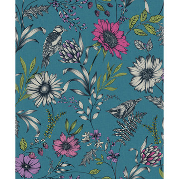 Botanical Songbird Teal 676001