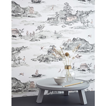 Mountains Classic grey pink wallpaper close up -Sian Zeng low res