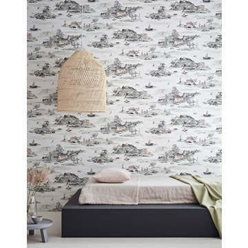 Mountains Classic grey pink wallpaper low res - Sian Zeng