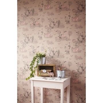 Woodlands Brown Pink Wallpaper 2 - Sian Zeng